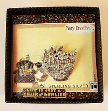 "Mary Engelbreit Sterling Silver Pin ""Bowl of Cherries"" Vintage 1990s New in Box"