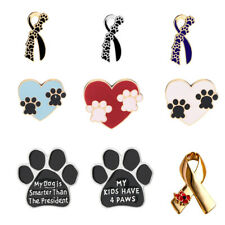 Lovely Paw Print Dog Cat Puppy Ribbon Charm Brooch Pin Pet Love Badage Lapel Pin