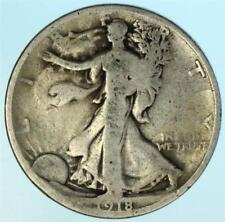 """Early """"S"""" Mint 1918-S Walking Liberty Half Dollar US 90% Silver Coin Lot H509"""