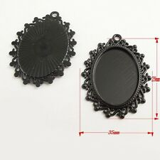 2pcs Antique Style Black Color Oval Cameo Setting  Pendant 25*18mm 37816