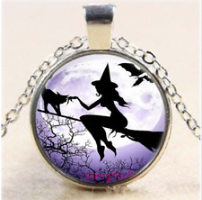 Chain Glass Pendant Necklace 2pcs Witch broom Cabochon Tibetan silver