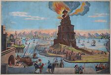 Pharos von Alexandria - Lighthouse Alexandria - Altkolorit - Original 1750 - Rar