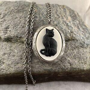 BLACK CAT Cameo Antique Silver pltd Locket Necklace, UNIQUE PILL STASH BOX