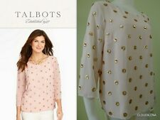 NWoT TALBOTS Size M Blush Pink/ Gold Sequin Embroidered Dots Blouse