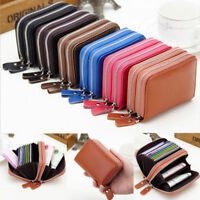 Ladies Womens Soft Leather Small Two Zip Coin Bag Wallet Card Purse Key Chain