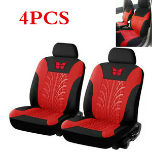 4Pcs Red Universal Auto Car SUV Butterfly-Pattern Embroidery Front Seat Cover