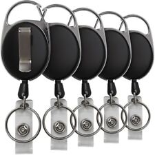 5x Badge Reel Pull Keychain Retractable ID Holder Security Card Identity Clip