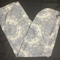 Harve Benard Pants XL Wide Leg Long Slits Lightweight Blue Cream Medallions New