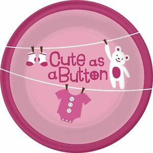 "Cute as Button Girl Clothesline Teddy Bear Baby Shower Party 7"" Dessert Plates"