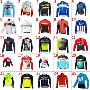 Hot Sale Mens Winter Thermal Fleece Cycling Jerseys Long Sleeve Shirt Maillots