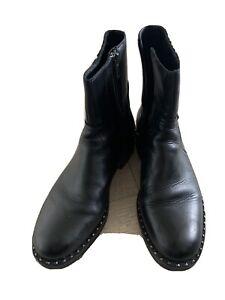 ASH LADIES BLACK LEATHER DESIGNER FLAT STUD ANKLE BOOTIES BOOTS SIZE UK 5 / 38