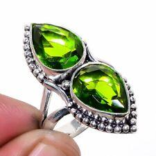 Burmese Peridot 925 Sterling Silver Jewelry Ring s.9 LR-4429