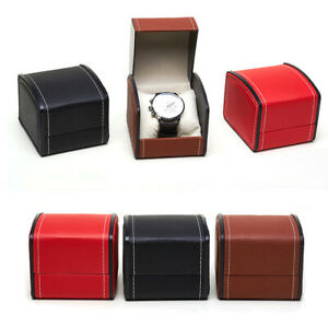 PU Single Grid Leather Watch Display Jewelry Gifts Storage Box with Cushion