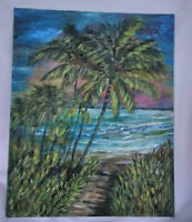 Original Oil Painting on 8x10 Canvas Panel Board Beach Seascape Art Decor