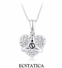 White Love Heart Pendant Chain Necklace / Gift Wrapped