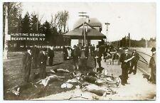 RPPC NY Adirondacks Beaver River Railroad Station Depot Hunting Season with Deer