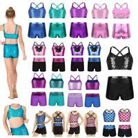 Girls Leotard Gym Dance Outfit Tank Top+Shorts Shiny Ballet Dress Sport Costume