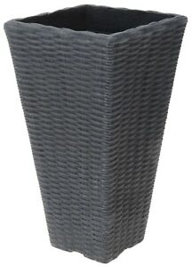 Tall Square Rattan Planter Flared Planter Indoor Outdoor Use 48cm Charcoal Grey