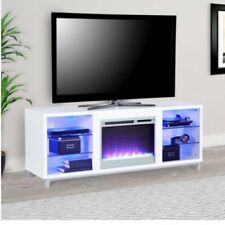 """Ameriwood Home Lumina Fireplace TV Stand for TVs up to 70"""" Wide White"""