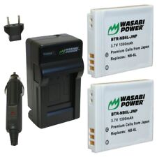 Wasabi Power Battery (2-Pack) and Charger for Canon NB-6L, NB-6LH, CB-2LY