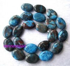 Blue Mexican Crazy Agate Flat Oval Beads 13×18mm 15.8""