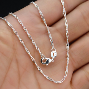 """5Pcs 28"""" Wholesale Jewelry Lot 925 Silver """"Water Wave"""" Chain Necklace Pendant"""