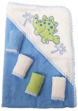 Baby Kapuzenbadetuch + 4st. Waschtücher 100% Baumwolle Geschenkset 5 teilig Dino