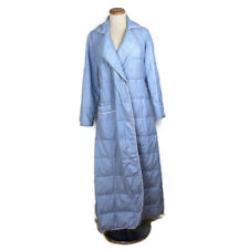 Vintage Eddie Bauer Goose Down Quilted Robe Size L Full Length Blue Some Flaws