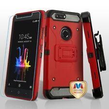Red Black 3-in-1 Kinetic Combo Holster Temper Glass ZTE Sequoia Z982 B