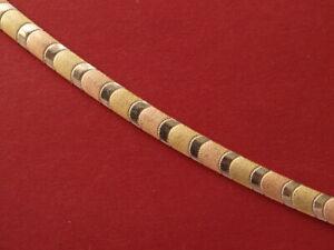 """14ct multi-tone gold brushed & plain bracelet  16.40 grams 7.25"""" 18.5cm"""