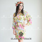 YELLOW Cotton Rayon Floral Robe Print Vintage Dressing Gown Wedding Bride
