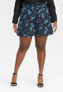 Who What Wear 12 Black Floral Plus Size High-Rise Shorts
