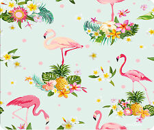 Pink Flamingos And Tropical Flowers Mouse Pad