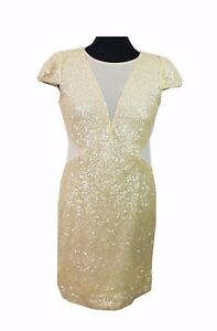 RARE LONDON Dress Size 14 Champagne Sequin NEW w/TAG Cocktail Party Evening *