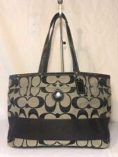 COACH Signature Stripe Black Gray Jacquard Diaper Baby Bag Tote Purse F15188