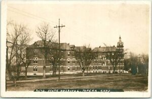 "TOPEKA, Kansas RPPC Photo Postcard ""3572. STATE HOSPITAL"" Building View c1910s"