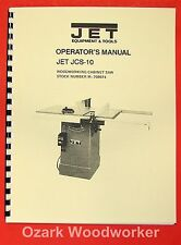 """JET/Asian JCS-10 Model 10"""" Cabinet Table Saw Operator's & Parts Manual 0889"""