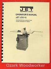 Jetasian Jcs 10 Model 10 Cabinet Table Saw Operators Amp Parts Manual 0889