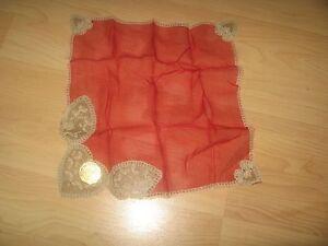 Maison Renee Foiret Belgian Lace Dentelles Bruxelles 1950's Silk Handkerchief