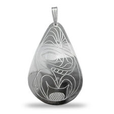 Whale Silver Teardrop Pendant Native Pacific Northwest Coast Salish First Nation