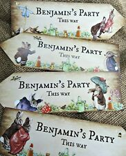 4 Personalised Beatrix Potter Benjamin Bunny Peter Rabbit Party Arrows Signs