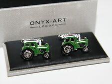 Novelty Cufflinks - Green Tractor Design - Farmer Gift