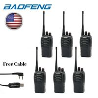 6Pack Baofeng BF-888S UHF Portable Two-way Radio Ham Walkie Talkie + Free Cable