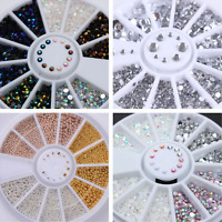 4Boxes 3D Nail Art Decoration Wheel Steel Bead Transparent Rhinestone Studs DIY