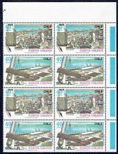 CHILE 1990 STAMP # 1422/3 MNH BLOCK OF FOUR CHILEAN PORTS SHIP