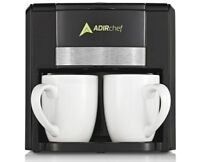 """AdirChef Black Coffee Maker for Two 800-02-BLK Best Friends Forever """"BFF"""""""