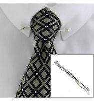 "Ky & Co Mens Collar Bar Clip 2 1/2"" Rhinestone Silver Tone"