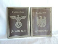 Two Vintage German Deutsches Reich Arbeitsbuch/Workbooks