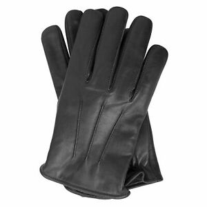 Mens Leather Warm Soft Driving Fleece lined winter Gloves S-XL