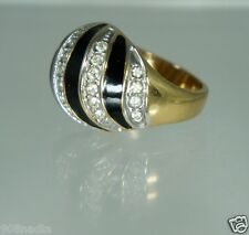 VINTAGE 18K GOLD PLATED BLACK ENAMEL,CRYSTALS,DOME ART DECO RING SIZE 6,5